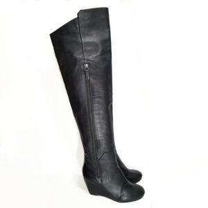 Kg by Kurt Geiger Watson Black OTK Wedge Boots 36